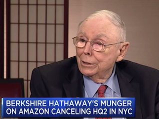 : CHARLIE MUNGER ON HQ2: 'Driving the rich people out is pretty dumb if you're a state or a city' (AMZN)